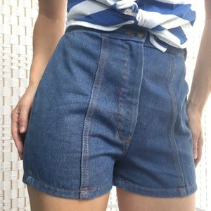 """Vintage 70s Jean Shorts High Rise Hot Booty 22""""-25"""
